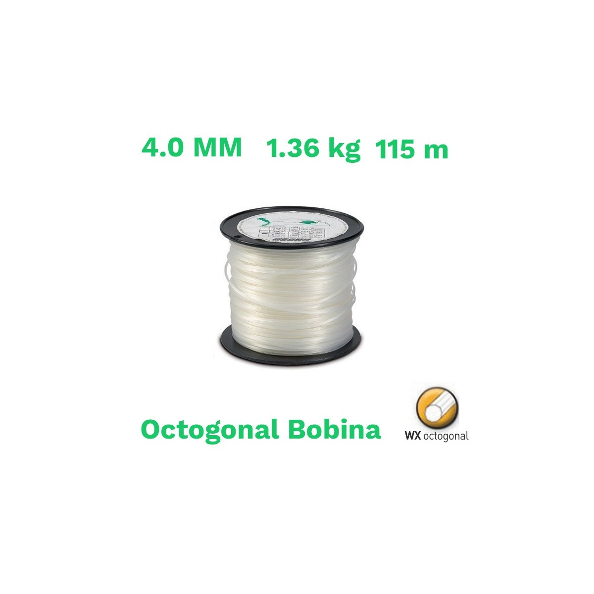Echo hilo nylon octogonal bobina 4.0 mm 1.36 kg 115 m