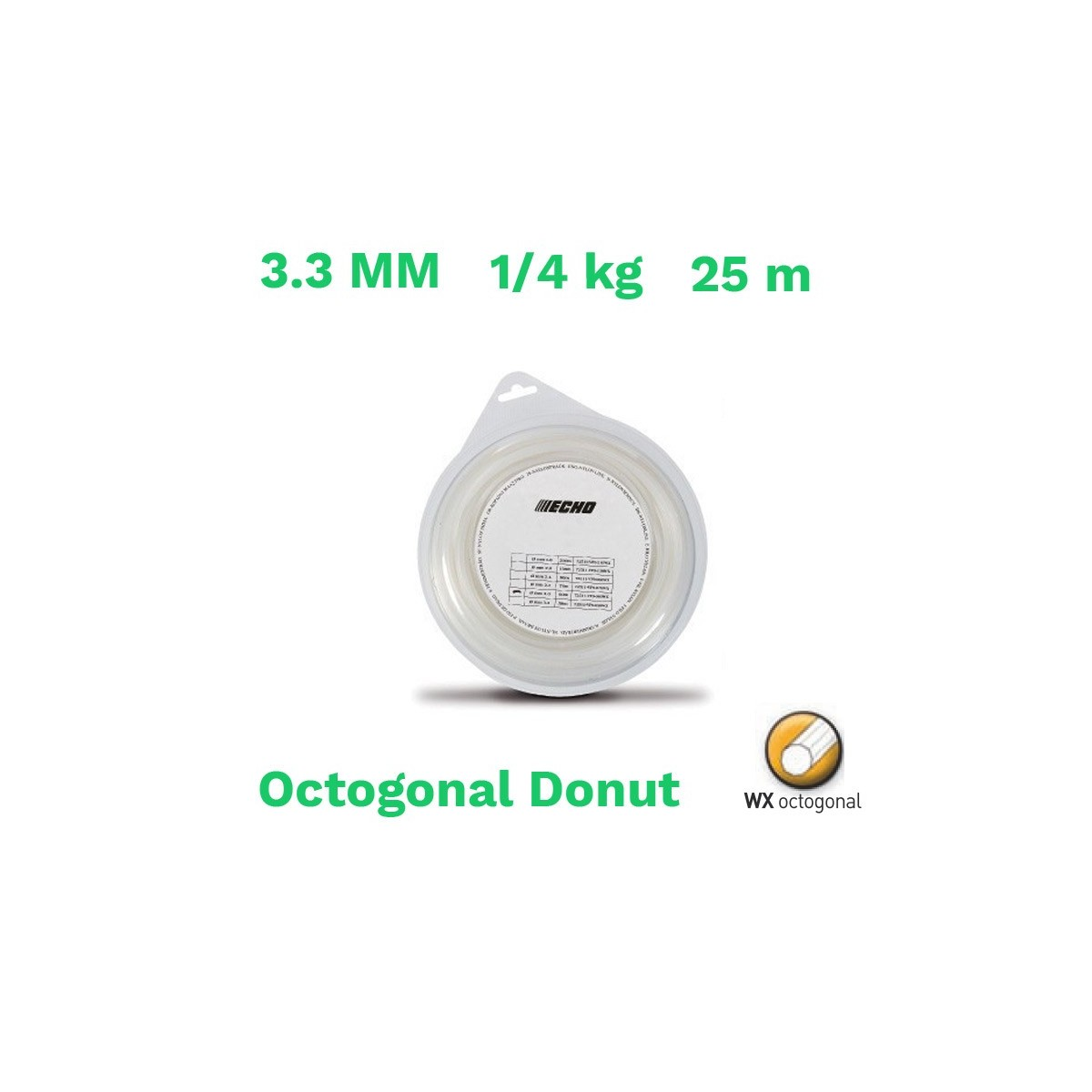 Echo hilo nylon octogonal donut 3.3 mm 1/4 kg 25 m