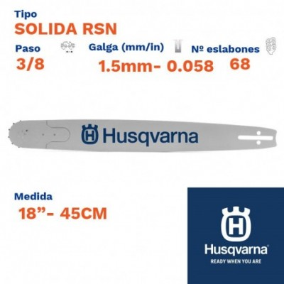 """Husqvarna espada solida rsn sop. p. 1.5mm 68 eslabones-pc 3/8  18""""- 45cm"""