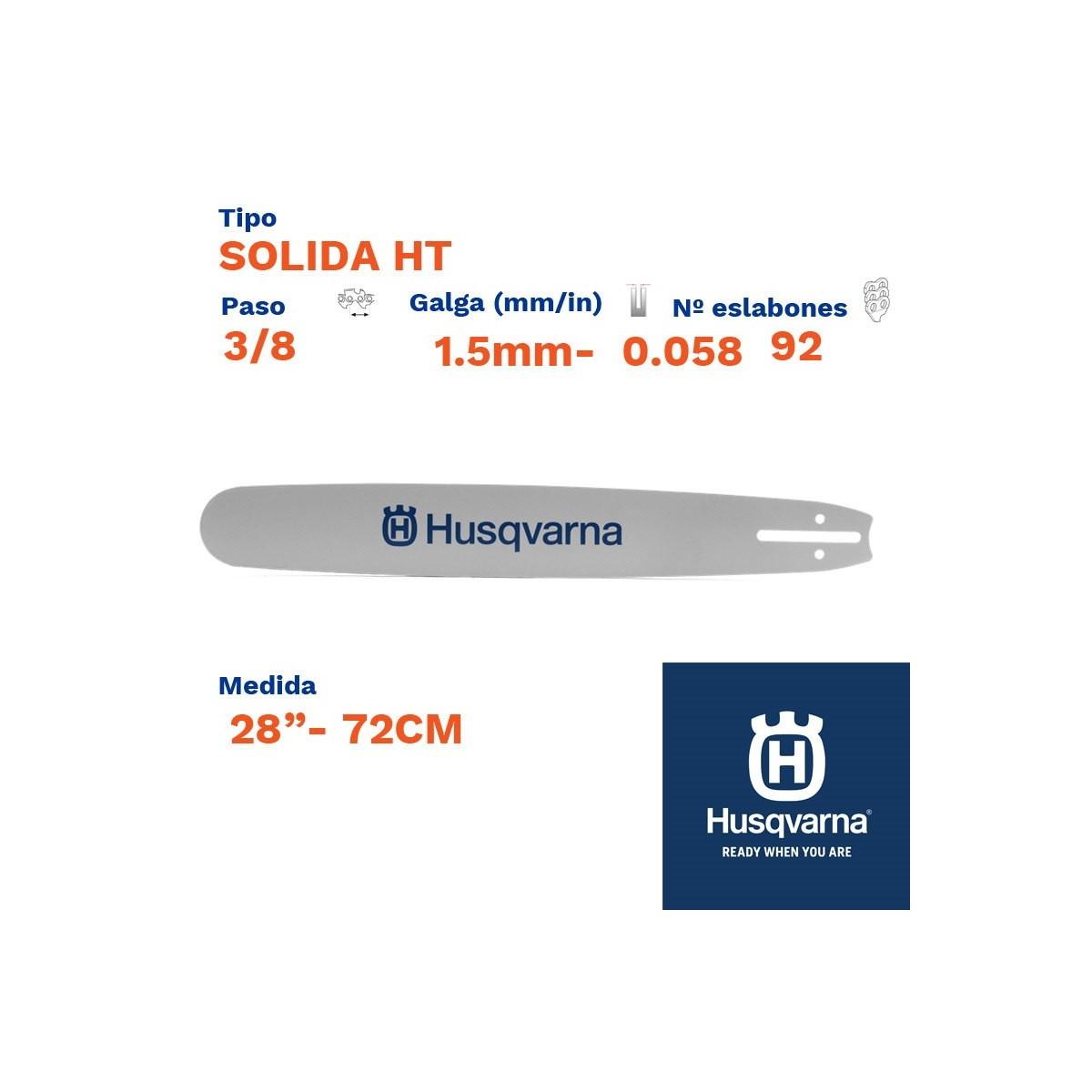 """Husqvarna espada solida ht 1.5mm 92  eslabones-pc 3/8   28""""- 72cm"""