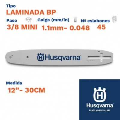 "Husqvarna espada laminada bp 1.1mm 45 eslabones-pc 3/8 mini 12""- 30cm"