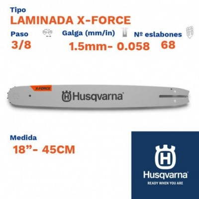 "Husqvarna espada laminada x-force ac. largo 1.5mm 68 eslabones-pc 3/8   18""- 45cm"
