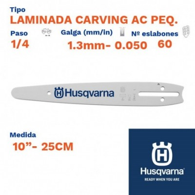 "Husqvarna espada laminada carving ac peq. 1.3mm 60 eslabones-pc 1/4   10""- 25cm"