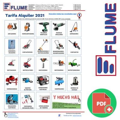 Tarifa de Alquiler de maquinaria 2021 en FLUME